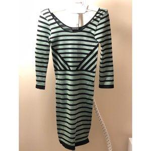 Bebe Striped Long Sleeve Bodycon Dress